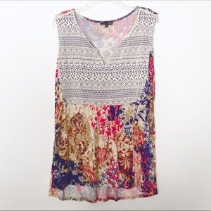 RXB Printed Lace Overlay Sleeveless Blouse